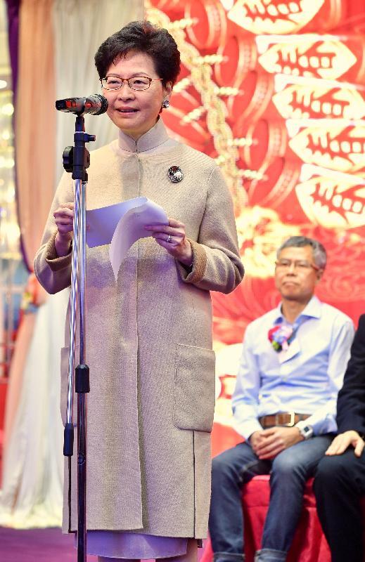 行政長官林鄭月娥今日(二月十九日)在勞工界己亥年新春酒會致辭。