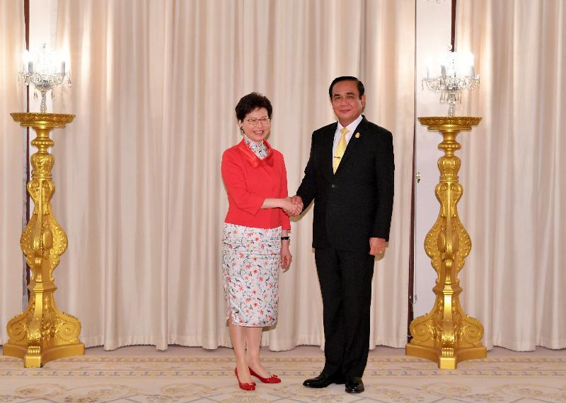 行政長官林鄭月娥(左)今日(二月二十八日)在泰國曼谷與泰國總理巴育(右)會面。