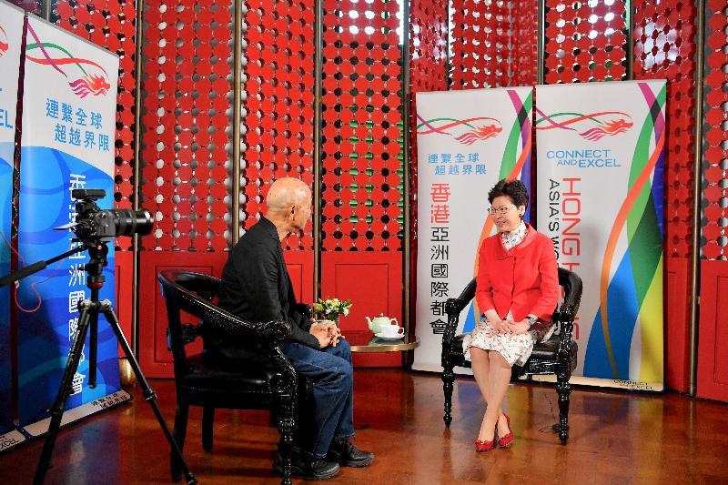 行政長官林鄭月娥今日(二月二十八日)在曼谷繼續訪問泰國行程。圖示林鄭月娥(右)接受媒體訪問。
