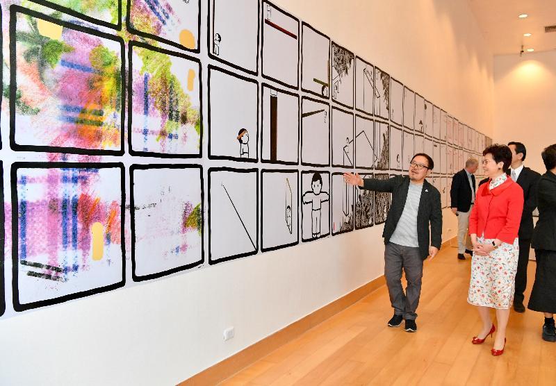 行政長官林鄭月娥今日(二月二十八日)在泰國曼谷出席出席曼谷藝術文化中心及進念‧二十面體諒解備忘錄簽署儀式。圖示林鄭月娥(右)在簽署儀式後參觀天天向上展覽@曼谷藝術文化中心2019。