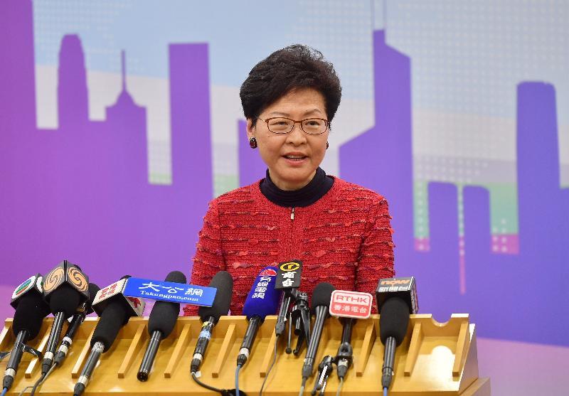 行政長官林鄭月娥今日(三月一日)在北京會見傳媒。