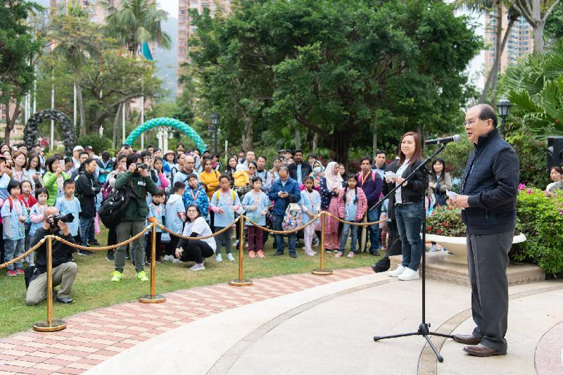 政務司司長張建宗今日(三月二十四日)在2019香港保護兒童會步行「童」樂日致辭。
