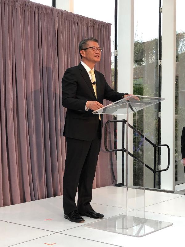 财政司司长陈茂波今日(美国西岸时间四月八日)在西雅图出席庆祝往来香港和西雅图直航服务开通的酒会并致辞。