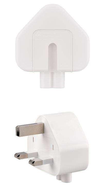 機電工程署今日(四月二十六日)提醒市民「Apple」三叉式AC插頭轉接器有潛在觸電風險。圖示受影響的「Apple」插頭轉接器。
