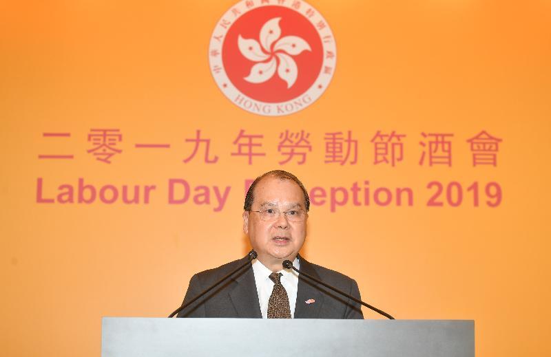 署理行政長官張建宗今日(四月二十六日)傍晚在勞工處舉辦的勞動節酒會致辭。