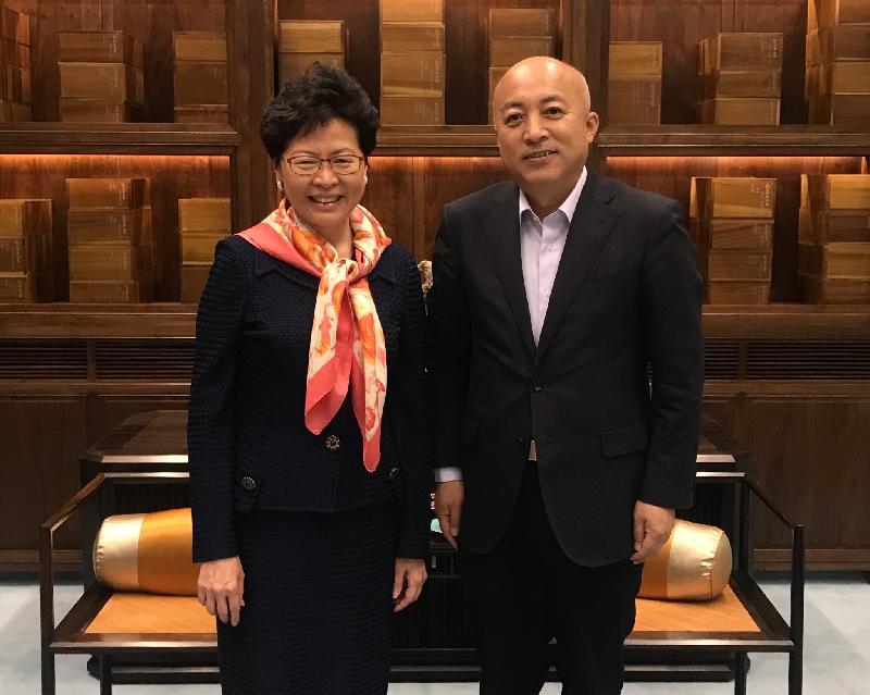 行政長官林鄭月娥(左)今日(四月二十七日)在北京故宮博物院與院長王旭東會面。