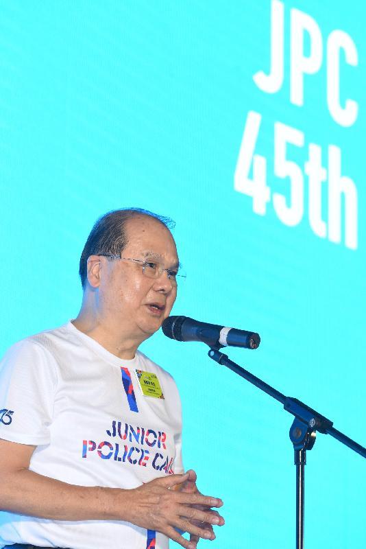 政務司司長張建宗今日(四月二十八日)在八鄉少訊中心出席「少年警訊四十五周年開放日」開展禮,並在活動上致辭。
