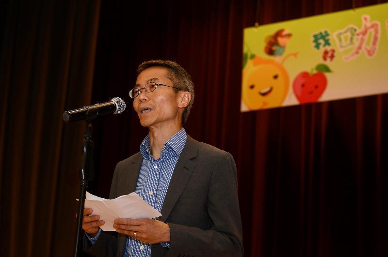 卫生署卫生防护中心总监黄加庆医生今日(五月十日)于「我好『叻』」社区健康推广计划嘉许典礼致辞。