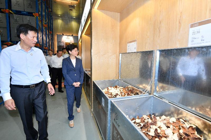 行政長官林鄭月娥(右)今日(五月十八日)在江門參觀新會陳皮村,了解陳皮產業發展。