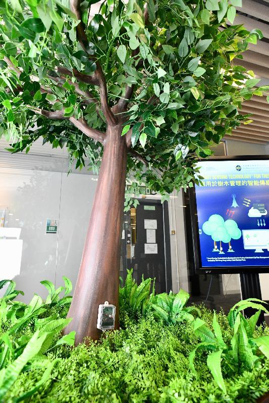智慧政府創新實驗室展示一些已成功通過或正進行概念驗證的技術。圖示發展局正進行測試的樹木搖動監測控制台。當樹幹底部的感應器監測到傾斜角度超過臨界角度時,系統會立即向指定人員發送提示信息。