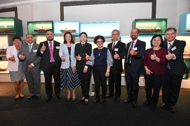 "The Maritime Professional Promotion Federation and other maritime organisations jointly held a press conference, entitled ""A Successful Maritime Professional Series"", at the Hong Kong Maritime Museum today (July 8). Picture shows the first Hong Kong woman to have qualified as the chief engineer of seagoing vessels, Miss Joanna Kwok (fifth left), with guests at the press conference."