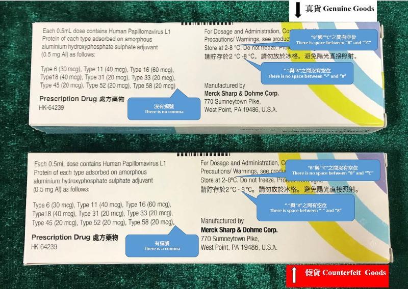 香港海關與衞生署七月十日進行聯合行動,突擊搜查一所位於觀塘的醫務中心,檢獲約七十六盒懷疑冒牌疫苗及四十七盒含有第1部毒藥的疫苗,估計市值合共約二十八萬元。圖示懷疑冒牌疫苗(下)及正牌疫苗(上)包裝盒的分別。