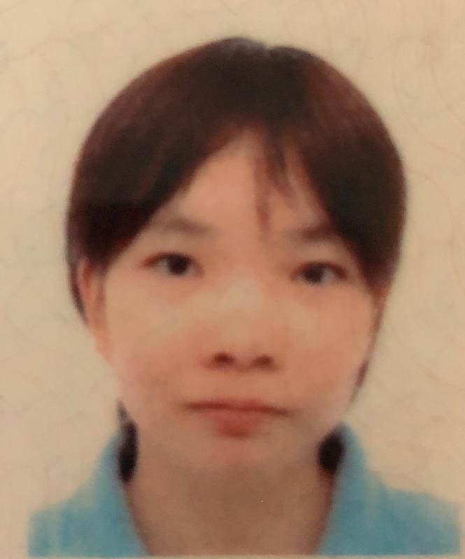 Pang Chui-ying, aged 31, is about 1.5 metres tall, 50 kilograms in weight and of medium build. She has a square face with yellow complexion and short black hair. She was last seen wearing a light blue short-sleeved t-shirt, beige pants and pink shoes.