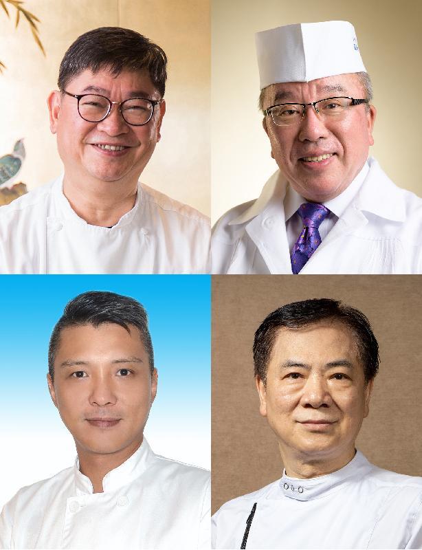 四位日本和本地名廚田村隆(右上)、梁兆明(左上)、黎偉鴻(右下)和鍾志強(左下)獲邀於八月十六日(星期五)在美食博覽舉行的「減鹽減糖主題日星級名廚烹飪示範」環節烹調少鹽少糖菜式,推廣健康美味飲食。