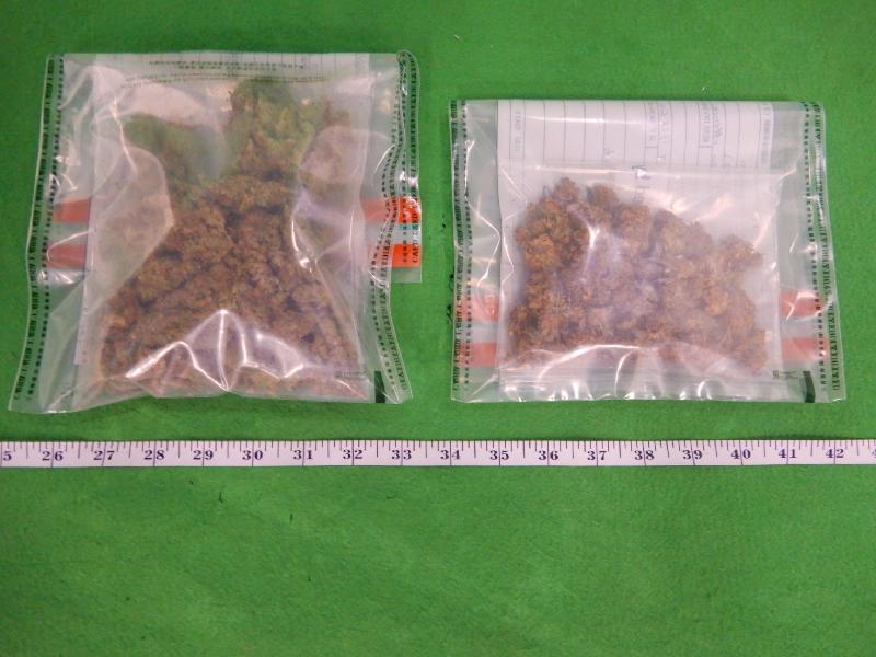 香港海關九月六日、九月十日及昨日(九月十一日)分別在香港國際機場、將軍澳及柴灣檢獲約一百克懷疑大麻花及約一點零六公升懷疑含四氫大麻酚成分的溶液,估計市值共約十萬元。圖示檢獲的懷疑大麻花。