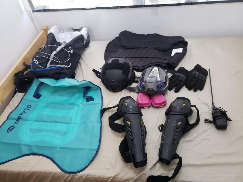 Police seized a large amount of protective gear.