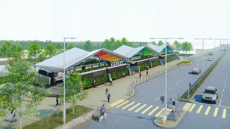 食物及衞生局今日(十月十日)宣布,將在天水圍設立臨時街市,選址為天秀路公園旁的空地,預計最快在明年年底前完工啟用。
