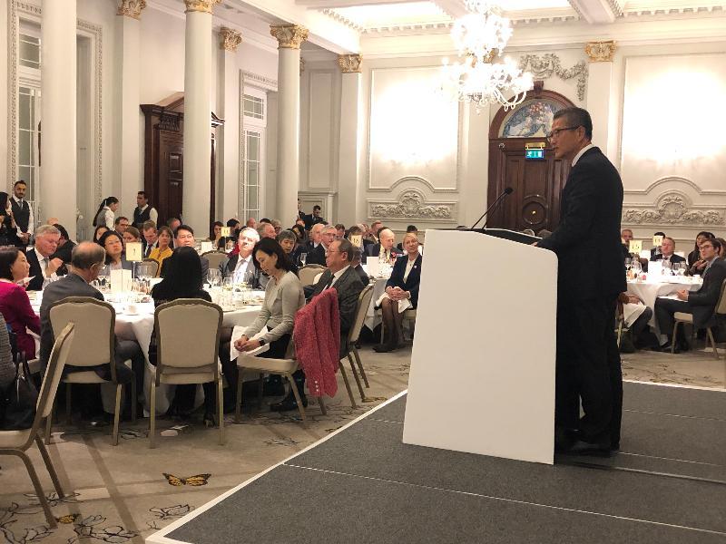 財政司司長陳茂波十月二十九日(倫敦時間)在英國倫敦出席香港工商協會午餐會並致辭。