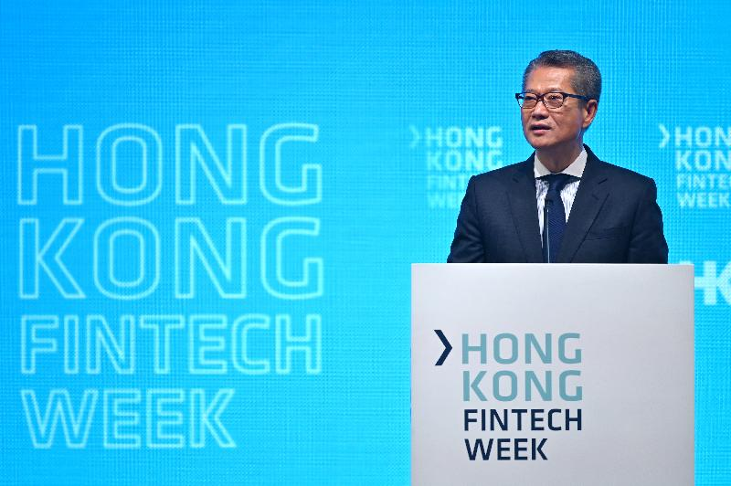 The Financial Secretary, Mr Paul Chan, speaks at the opening of Hong Kong Fintech Week 2019 this morning (November 6).