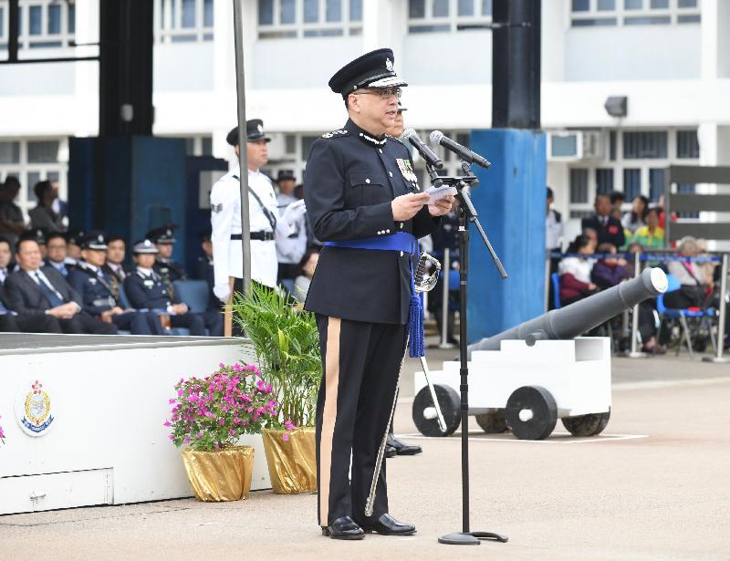 警務處處長盧偉聰今日(十一月十六日)在香港警察學院結業會操中致辭。