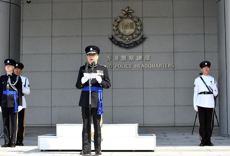警務處今日(十一月十八日)在警察總部為即將退休的警務處處長盧偉聰舉行告別檢閱儀式。圖示盧偉聰在儀式上致辭。