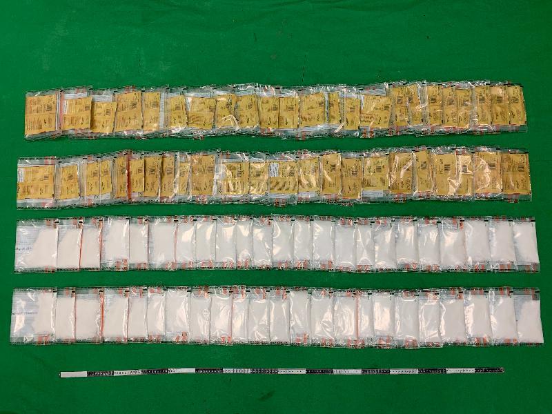 香港海關十一月十六日在香港國際機場檢獲約三點四公斤懷疑冰毒,估計市值約一百五十七萬元。