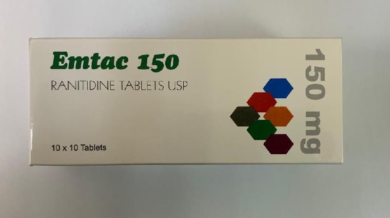 衞生署今日(十一月二十七日)同意從市面回收兩款含有雷尼替丁的產品,包括圖示的Emtac 150藥片150毫克。