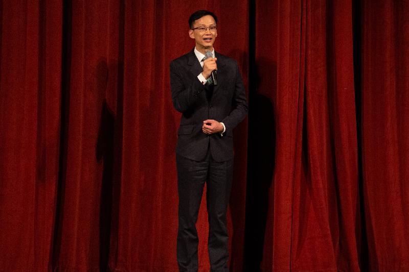 香港駐三藩市經濟貿易辦事處處長蔣志豪十二月十三日(三藩市時間)於三藩市粵劇表演致辭。