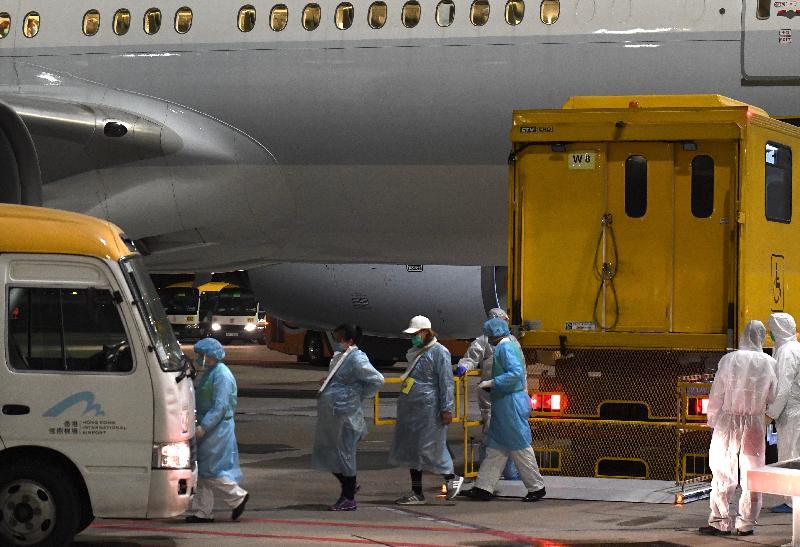 滯留湖北省的香港居民今日(三月四日)乘搭香港特別行政區政府安排的第二班專機順利抵港。