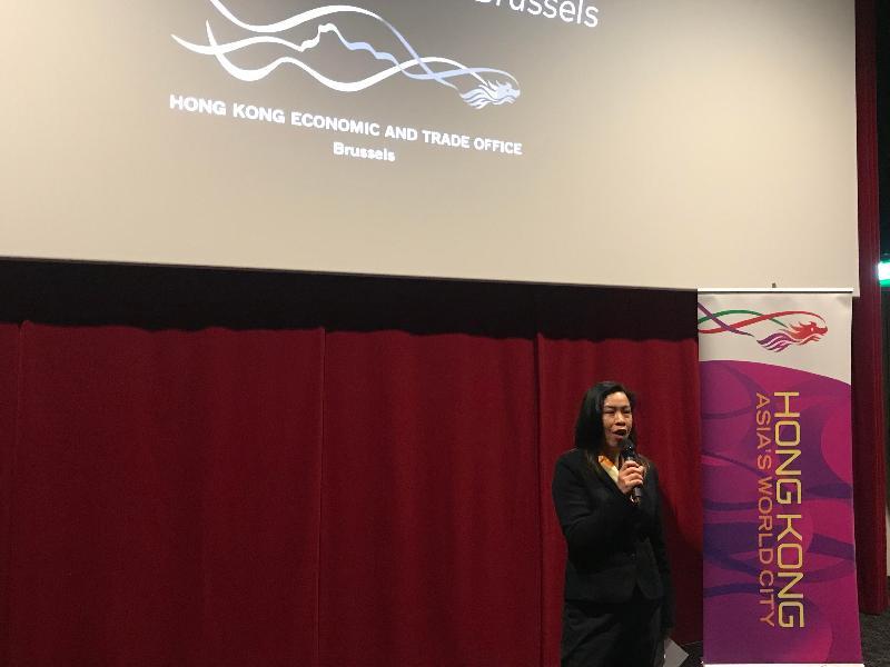 香港駐布魯塞爾經濟貿易辦事處副代表周雪梅昨日(阿姆斯特丹時間三月五日)在荷蘭阿姆斯特丹舉行的亞洲電影節香港電影之夜開幕禮致辭。
