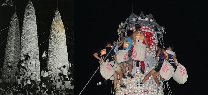 歷史檔案館的展覽「那些年的節慶」今日(六月十二日)起舉行,透過歷史檔案展示昔日節慶情景。圖示一九六九年(左)和二○一二年(右)的「搶包山」盛況。搶包山是長洲太平清醮的壓軸環節,相傳搶到包子的人會迎來好運。搶包山自一九七九年起因安全問題而停辦。二○○五年復辦時,包山以鋼架作為基礎結構。政府按香港攀山總會(現稱中國香港攀山及攀登總會)提供的意見,把傳統活動與現代攀爬技術結合,使搶包山活動得以安全有序地進行。