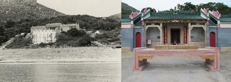 歷史檔案館的展覽「那些年的節慶」今日(六月十二日)起舉行,透過歷史檔案展示昔日節慶情景。圖示一九七○年(左)和二○一一年(右)的西貢大廟灣天后古廟(即大廟)。大廟相傳建於一二六六年,即南宋年間,為香港一級歷史建築,是本港最古老和最大規模的天后廟。