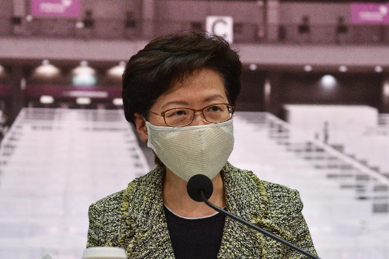 行政長官林鄭月娥今日(八月七日)在添馬政府總部就防疫抗疫措施舉行記者會。