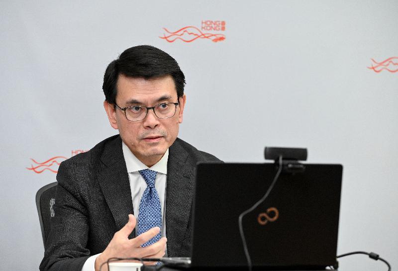 商務及經濟發展局局長邱騰華今日(九月九日)出席網上研討會,分享對全球貿易在2019冠狀病毒病疫情後轉向的看法。