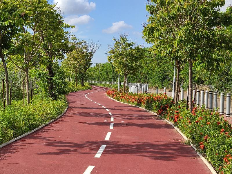 連接元朗至上水的新單車徑明日(九月二十九日)開放予公眾使用。圖為元朗攸壆路路段的單車徑。