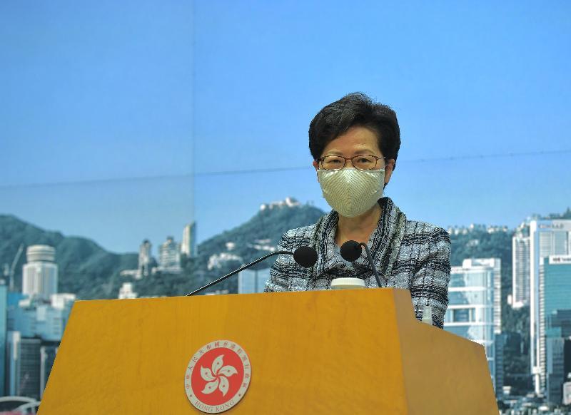行政長官林鄭月娥今日(十月十二日)於政府總部會見傳媒。