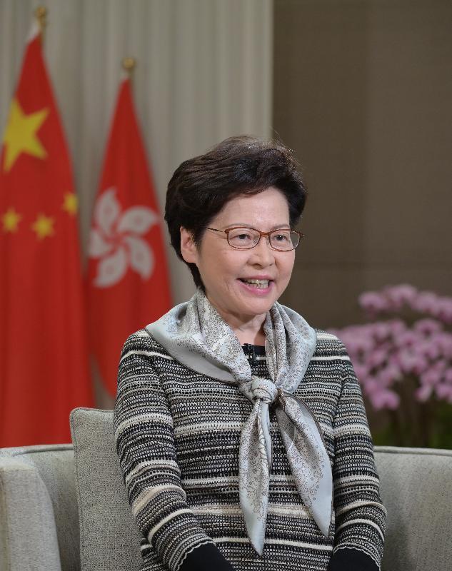 行政長官林鄭月娥今日(十月二十七日)在2020甬港經濟合作論壇透過視像致辭。