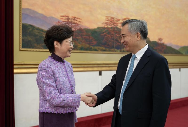 行政長官林鄭月娥(左)今日(十一月七日)在廣州與廣東省委書記李希會面(右)。