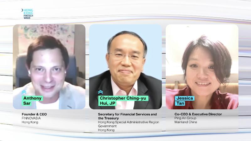 財經事務及庫務局局長許正宇(中)十一月二日香港金融科技周2020與平安集團聯席首席執行官陳心穎(右)和Finnovasia創辦人及行政總裁Anthony Sar(左)的爐邊會談宣布兩項新政策措施。