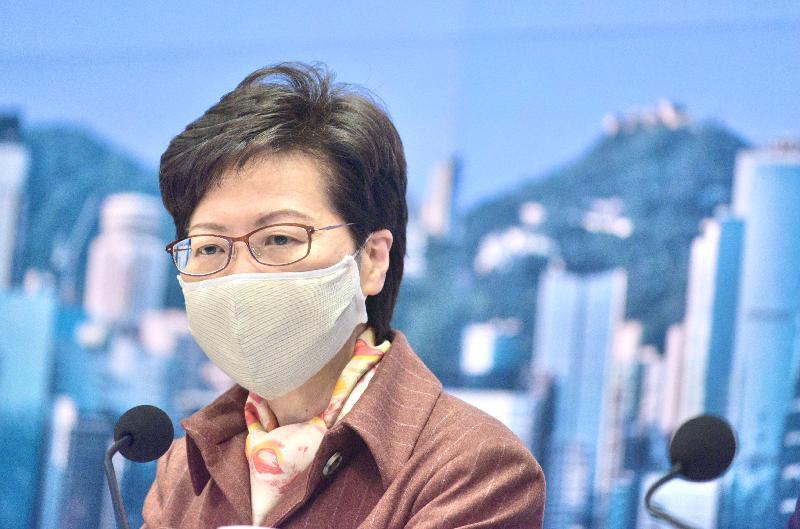 行政長官林鄭月娥今日(十二月十一日)下午在添馬政府總部就防疫抗疫措施舉行記者會。