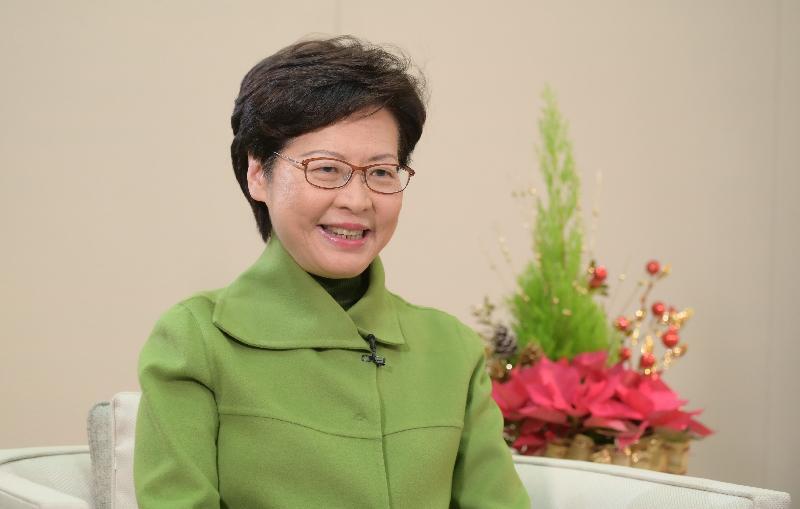 行政長官林鄭月娥今日(十二月二十六日)就屯門至赤鱲角北面連接路通車發表視像致辭。