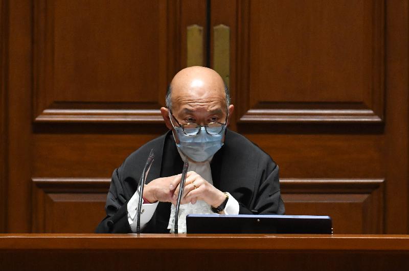 終審法院首席法官馬道立今日(一月六日)在退休前法庭儀式上致辭。