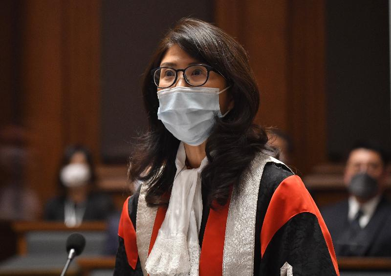 The President of the Law Society of Hong Kong, Ms Melissa Pang, today (January 11) gives an address at the Ceremonial Opening of the Legal Year 2021.