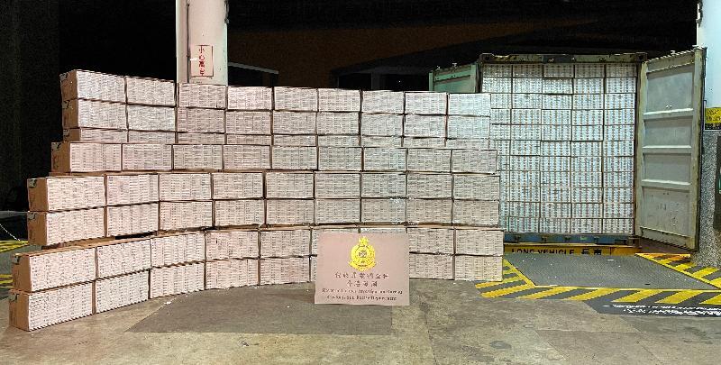 香港海關檢獲約二千九百萬元懷疑私煙