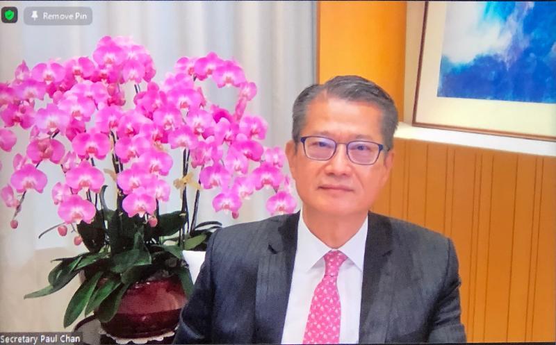 財政司司長陳茂波今日(五月十二日)出席網上研討會,向加拿大政商界介紹香港作為國際金融中心的優勢和競爭力。