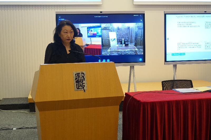 律政司司長鄭若驊資深大律師今日(五月十二日)在香港特別行政區政府與國際統一私法協會就法律專業人員借調計劃簽署諒解備忘錄的網上儀式上致辭。