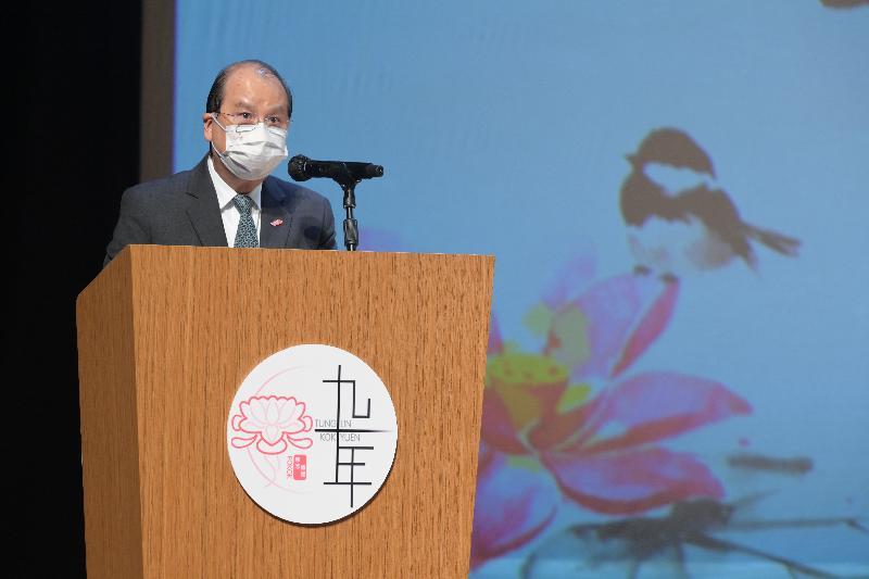 政務司司長張建宗今日(五月二十五日)在東蓮覺苑辦學九十周年音樂劇《山光道十五號》開幕典禮致辭。