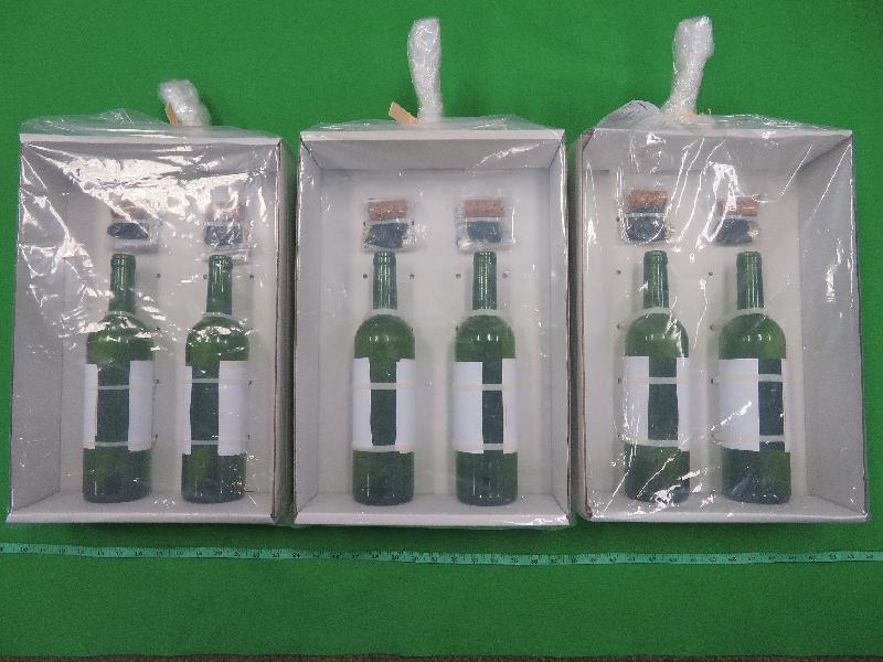 香港海關檢獲約九百七十萬元懷疑液態可卡因及懷疑液態氯胺酮