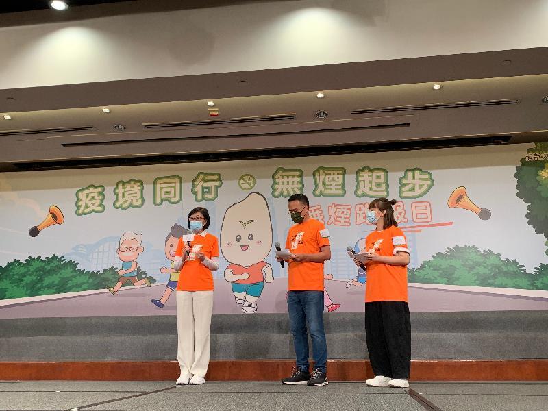 今日(五月三十一日)為「世界無煙日」,衞生署署長陳漢儀醫生(左一)呼籲吸煙人士響應嘗試戒煙,以降低患上吸煙相關疾病和死亡風險。