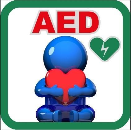 消防處今日(六月二十二日)正式公布「AED 睇得到 用得到」計劃。圖示張貼於參與機構及超過600輛備有自動心臟除顫器的消防處車輛的「AED」標示。